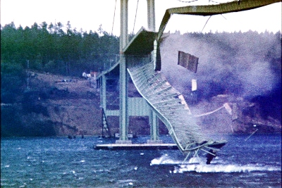 Screenshot taken from 16MM Kodachrome motion picture film by Barney Elliott.. Via Wikipedia - http://en.wikipedia.org/wiki/File:TacomaNarrowsBridgeCollapse_in_color.jpg#/media/File:TacomaNarrowsBridgeCollapse_in_color.jpg