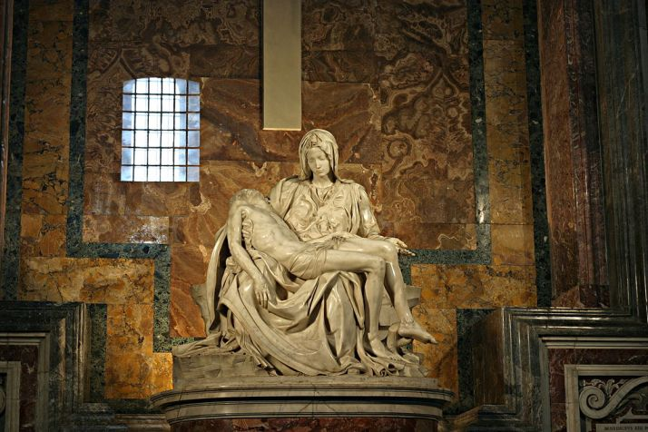 """Michelangelo's Pieta 5450"" by Stanislav Traykov - Own work. Licensed under CC BY 2.5 via Wikimedia Commons - http://commons.wikimedia.org/wiki/File:Michelangelo%27s_Pieta_5450.jpg#/media/File:Michelangelo%27s_Pieta_5450.jpg"